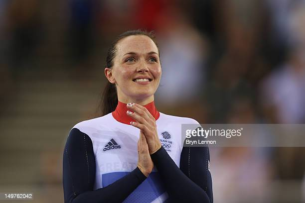Victoria Pendleton of Great Britain celebrates before receiving her gold medal during the medal ceremony for the Women's Keirin Track Cycling final...