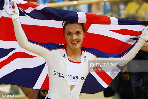 Victoria Pendleton of Great Britain celebrates the gold medal after the Women's Sprint Final against Anna Meares of Australia in the track cycling...