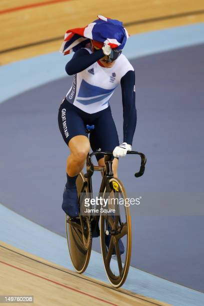 Victoria Pendleton of Great Britain celebrates winning gold in the Women's Keirin Track Cycling final on Day 7 of the London 2012 Olympic Games at...