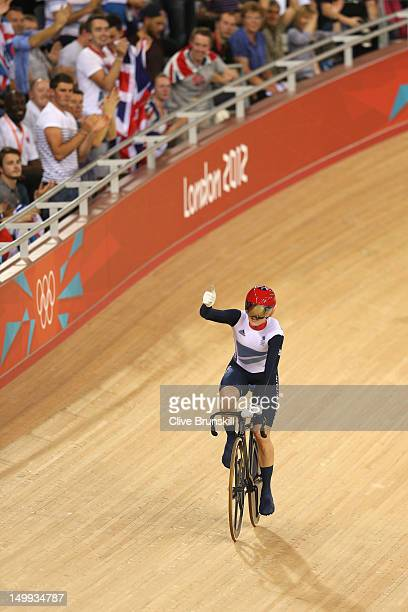 Victoria Pendleton of Great Britain celebrates winning the Women's Sprint Track Cycling Semi Final on Day 11 of the London 2012 Olympic Games at...