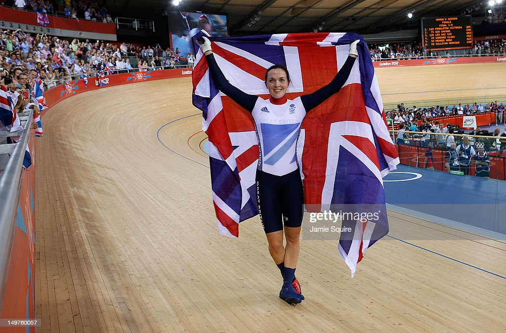 Victoria Pendleton of Great Britain celebrates with a Union Jack after winning gold in the Women's Keirin Track Cycling final on Day 7 of the London 2012 Olympic Games at Velodrome on August 3, 2012 in London, England.