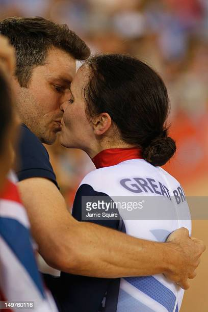Victoria Pendleton of Great Britain celebrates with her fiance Scott Gardner after winning gold in the Women's Keirin Track Cycling final on Day 7 of...