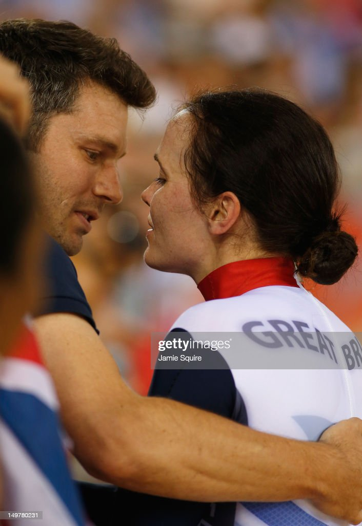Victoria Pendleton of Great Britain celebrates with her fiance Scott Gardner after winning gold in the Women's Keirin Track Cycling final on Day 7 of the London 2012 Olympic Games at Velodrome on August 3, 2012 in London, England.