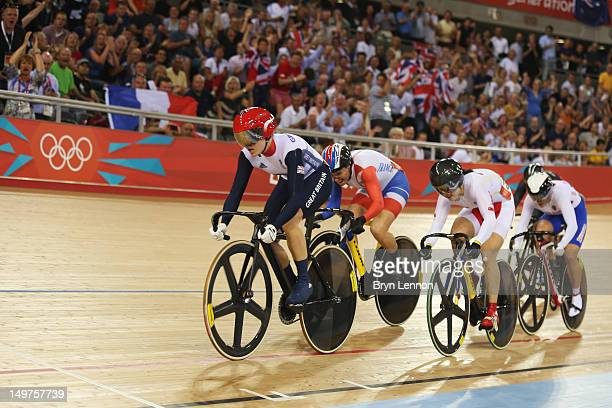 Victoria Pendleton of Great Britain Clara Sanchez of France Shuang Guo of China and Ekaterina Gnidenko of Russia compete in the Women's Keirin Track...