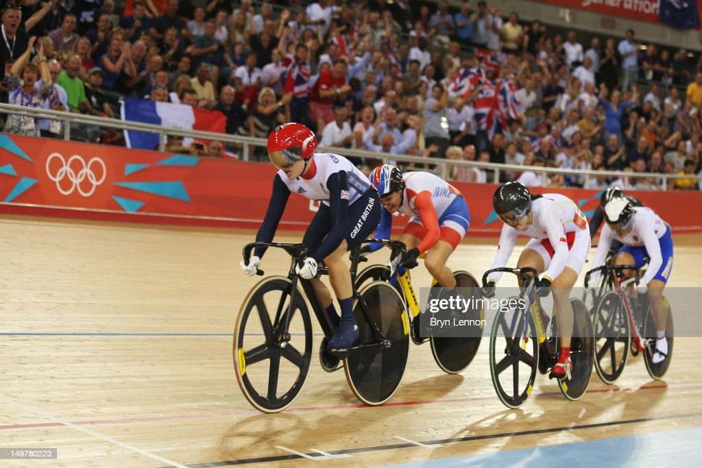 Victoria Pendleton of Great Britain, Clara Sanchez of France, Shuang Guo of China and Ekaterina Gnidenko of Russia compete in the Women's Keirin Track Cycling on Day 7 of the London 2012 Olympic Games at Velodrome on August 3, 2012 in London, England.