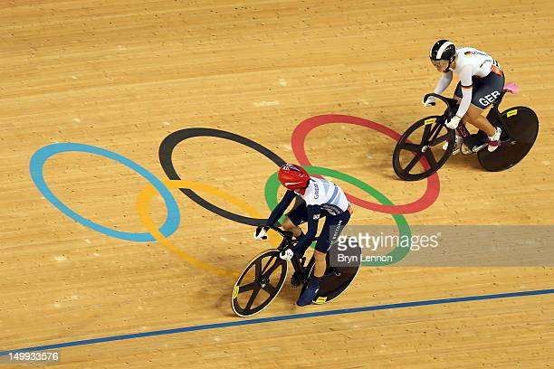 Victoria Pendleton of Great Britain competes against Kristina Vogel of Germany during the Women's Sprint Track Cycling Semi Final on Day 11 of the...