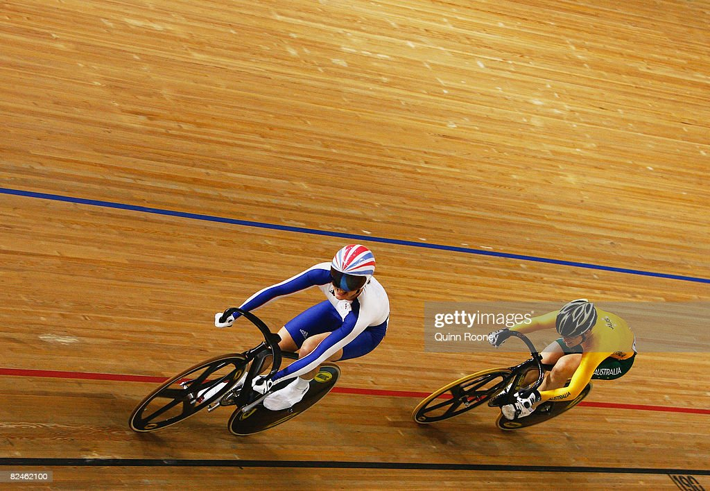 Victoria Pendleton of Great Britain competes with Anna Meares of Australia in the Women's Sprint Finals track cycling event at the Laoshan Velodrome on Day 11 of the Beijing 2008 Olympic Games on August 19, 2008 in Beijing, China.