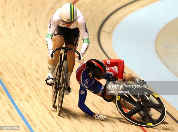 Victoria Pendleton of Great Britain crashes in her Womens Sprint Semifinals race with Anna Meares of Australia during day three of the 2012 UCI Track...