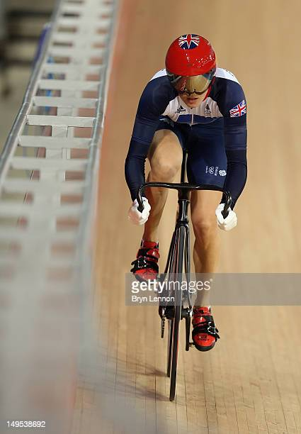 Victoria Pendleton of Great Britain in action during a track cycling training session on day three of the London 2012 Olympic Games at the Velodrome...
