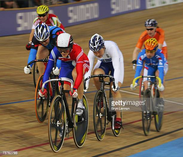 Victoria Pendleton of Great Britain in action in the Women's Keirin during the UCI Track Cycling World Championship at the Palma Arena, on April 1,...