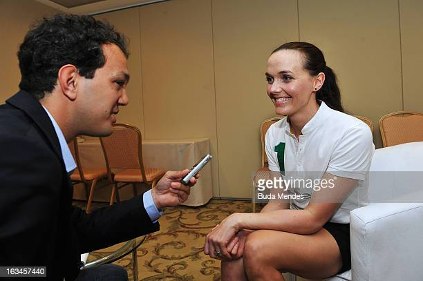 Victoria Pendleton of Great Britain is interviewed during day 2 of the 2013 Laureus World Sports Awards on March 9 2013 in Rio de Janeiro Brazil