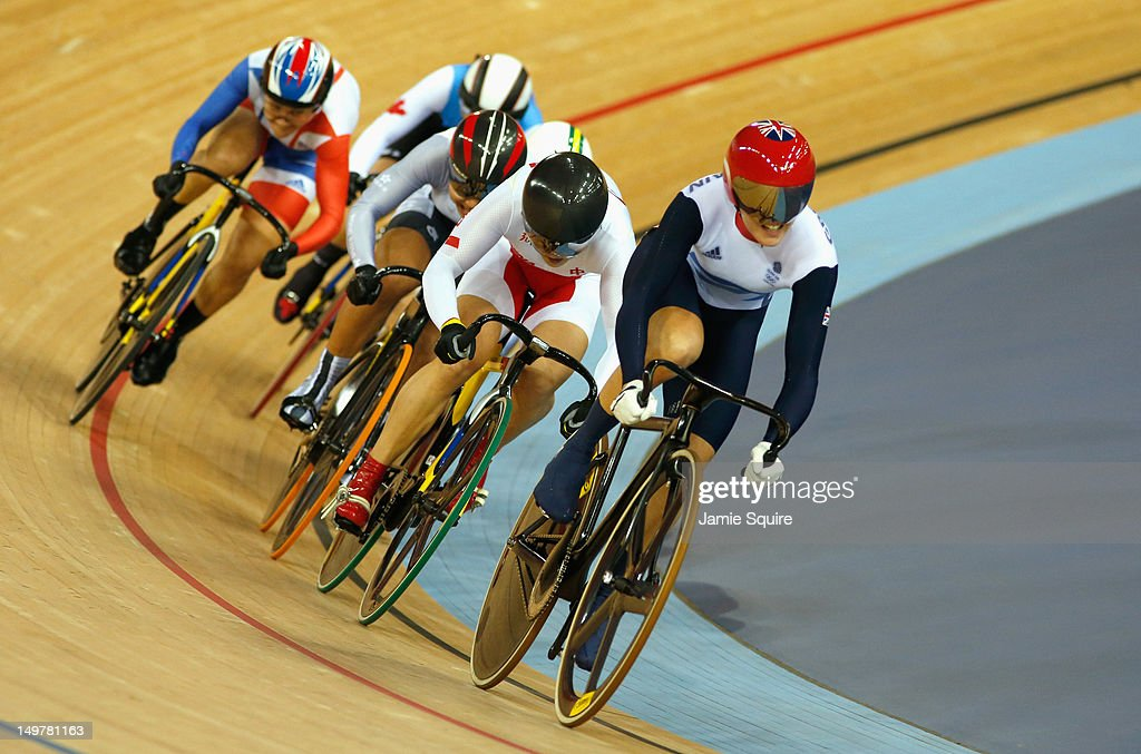 Victoria Pendleton of Great Britain leads Shuang Guo of China in the Women's Keirin Track Cycling final on Day 7 of the London 2012 Olympic Games at Velodrome on August 3, 2012 in London, England.