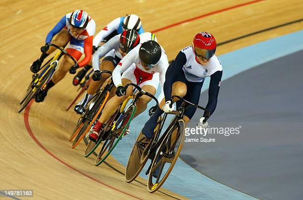 Victoria Pendleton of Great Britain leads Shuang Guo of China in the Women's Keirin Track Cycling final on Day 7 of the London 2012 Olympic Games at...