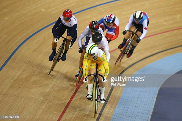 Victoria Pendleton of Great Britain moves around the outside as Anna Meares of Australia leads during the Women's Keirin Track Cycling final on Day 7...
