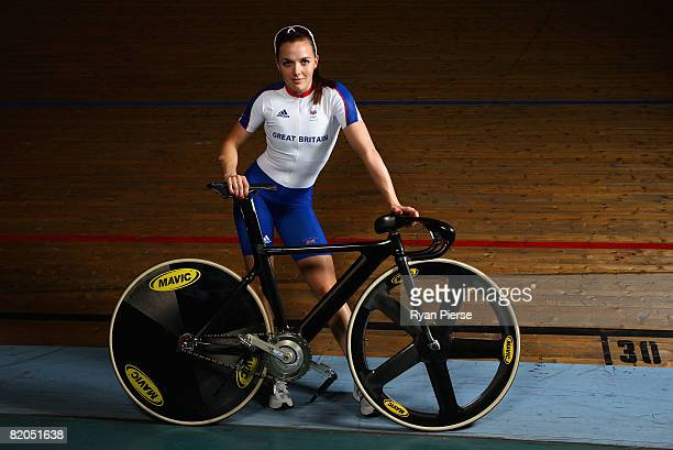 Victoria Pendleton of Great Britain poses during the Team GB Cycling PreOlympic Media Day at Newport Velodrome on July 24 2008 in Newport Wales