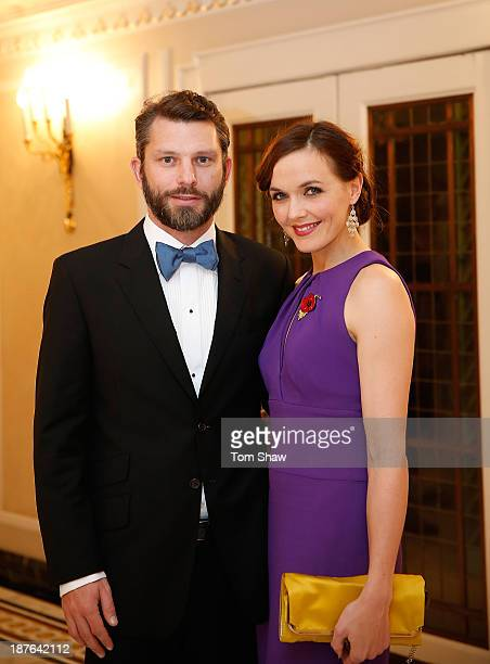 Victoria Pendleton of Great Britain poses for a picture with her husband Scott Gardner during the British Olympic Ball at The Dorchester on October...