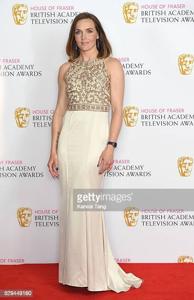 Victoria Pendleton poses in the winners room at the House Of Fraser British Academy Television Awards 2016 at the Royal Festival Hall on May 8 2016...