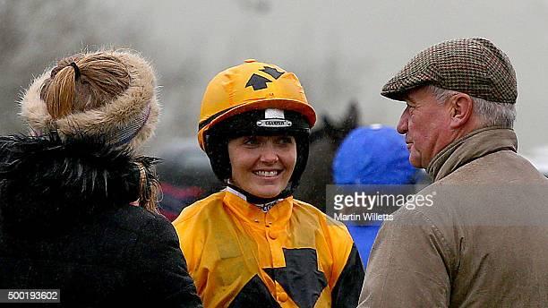 Victoria Pendleton prior to riding horse According to Sarah at Barbury Racecourse on December 6 2015 in Barbury England