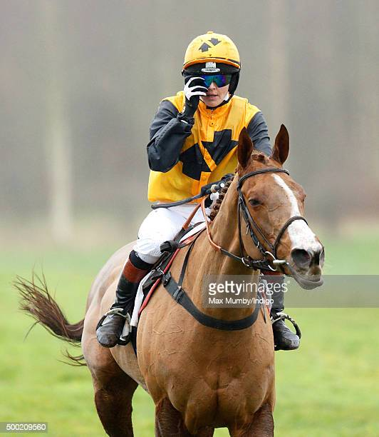 Victoria Pendleton pulls up her horse 'According to Sarah' two fences from the finish in the Ladies Open during the Barbury Castle Point to Point at...