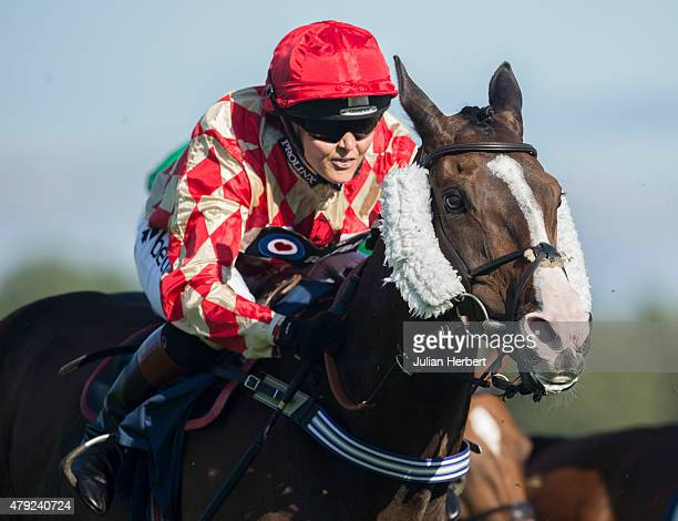 Victoria Pendleton rides in The George Frewer Celebration Sweepstake Race run at Newbury Racecourse on July 2 2015 in Newbury England The Double...