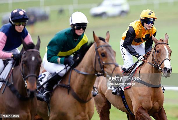 Victoria Pendleton riding her horse 'According to Sarah' in the Ladies Open during the Barbury Castle Point to Point at Barbury Racecouse on December...