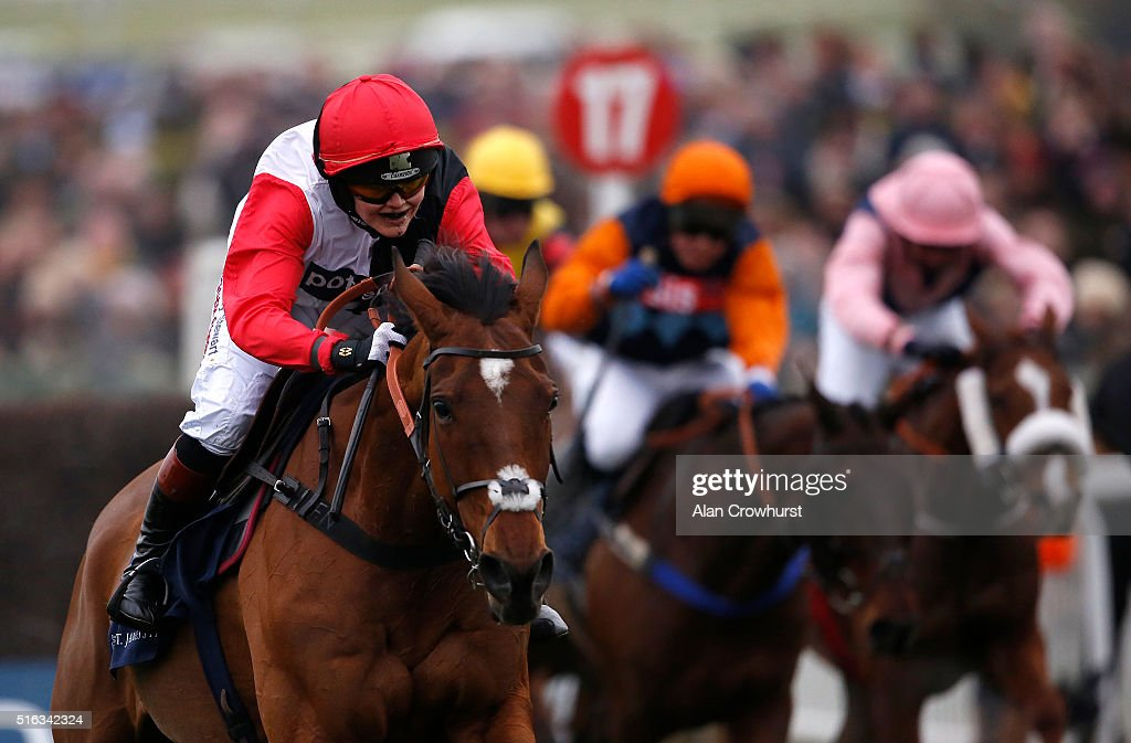 Victoria Pendleton riding Pacha De Polder clear the last to finish fifth in The St James's Place Foxhunter Steeple Chase Challenge Cup during the Gold Cup Day of Cheltenham Festival at Cheltenham racecourse on March 18, 2016 in Cheltenham, England.