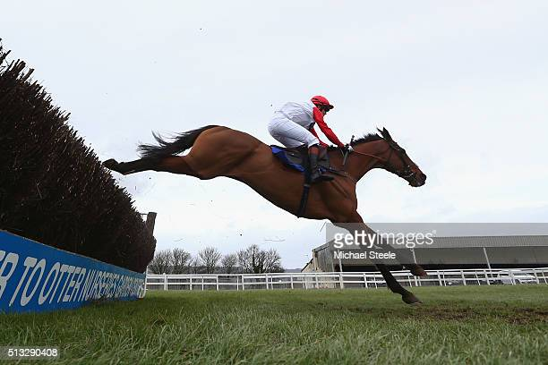 Victoria Pendleton riding Pacha Du Polder in the Betfair Switching Saddles Hunters' Steeplechase at Wincanton Racecourse on March 2 2016 in Wincanton...
