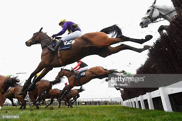 Victoria Pendleton riding Pacha Du Polder jumps during the St James's Place Foxhunter Chase Challenge Cup as part of the Cheltenham Festival at...