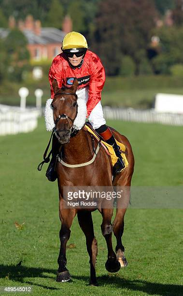 Victoria Pendleton riding Royal Etiquette competes in The Betfair Supports Amateur Riders Handicap Stakes on September 22 2015 in Beverley England
