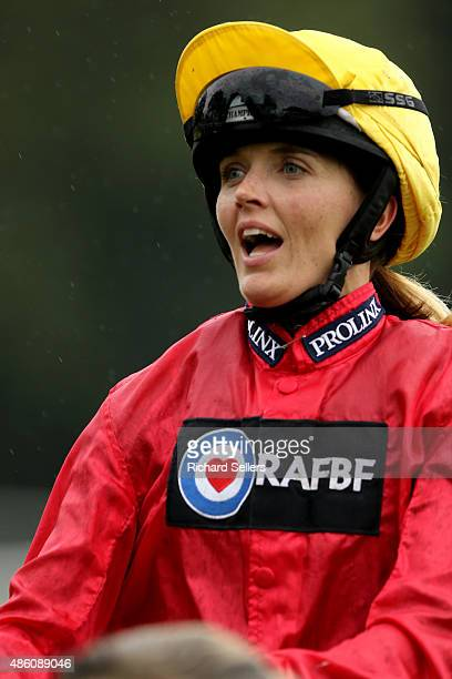 Victoria Pendleton riding Royal Etiquette during the Betfair novice flat amateur race at Ripon Races on August 31 2015 in Ripon England