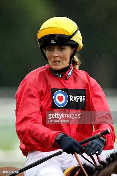Victoria Pendleton riding Royal Etiquette during the Betfair novice flat amateur race at Ripon Races on August 31 2015 in Ripon England