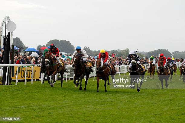 Victoria Pendleton takes 2nd place riding Royal Etiquette during the Betfair novice flat amateur race at Ripon Races on August 31 2015 in Ripon...