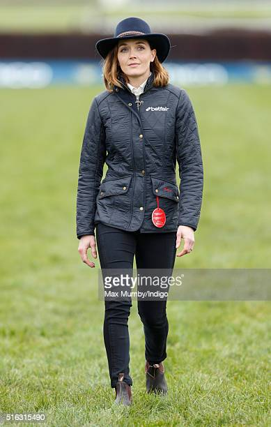 Victoria Pendleton walks the course before riding Pacha Du Polder in the Foxhunter Steeple Chase on day 4 Gold Cup Day of the Cheltenham Festival on...