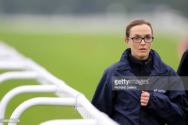 Victoria Pendleton walks the couse before the Betfair Novice Flat Amateur Race at Ripon racecourse on August 31 2015 in Ripon England