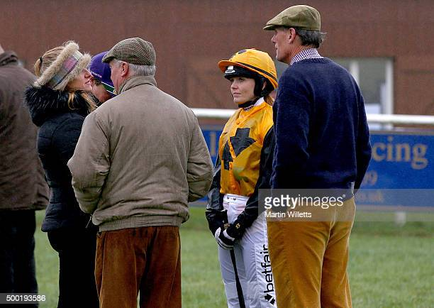 Victoria Pendleton with traiing Alan Hill prior to riding horse According to Sarah at Barbury Racecourse on December 6 2015 in Barbury England