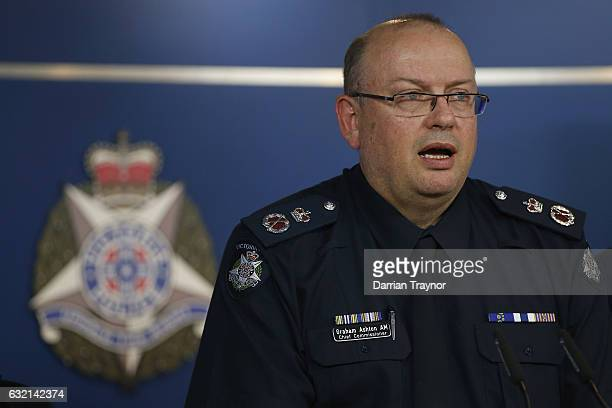 Victoria Police Chief Commissioner Graham Ashton speaks to the media to the at Victoria Police Centre on January 20 2017 in Melbourne Australia Three...