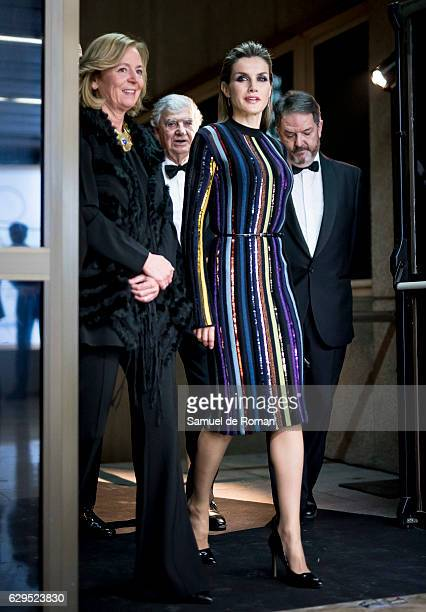 Victoria Prego and Queen Letizia of Spain attend a dinner in honour of 'Mariano de Cavia' 'Mingote' and 'Luca de Tena' awards winners at ABC on...