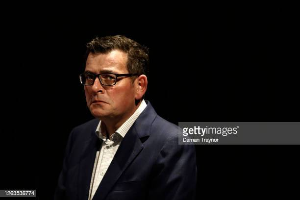 Victoria Premier Daniel Andrews looks on during the media at the daily briefing on August 03, 2020 in Melbourne, Australia. Melbourne is under stage...