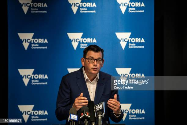 Victoria Premier Daniel Andrews speaks at a news conference on February 12, 2021 in Melbourne, Australia. All of Victoria will enter stage 4 lockdown...