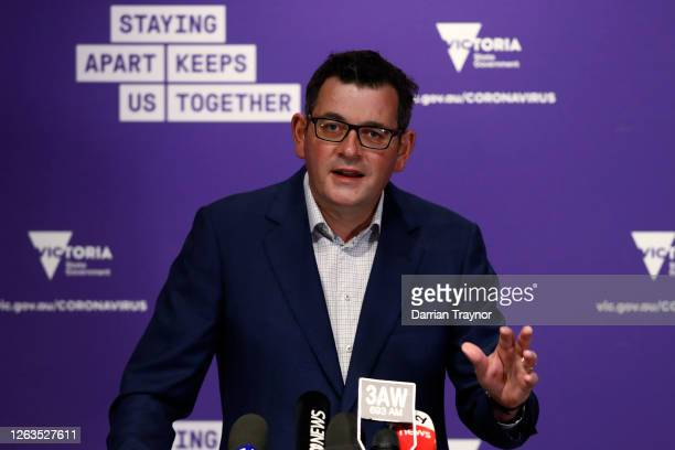 Victoria Premier Daniel Andrews speaks to the media at the daily briefing on August 03, 2020 in Melbourne, Australia. Melbourne is under stage 4...