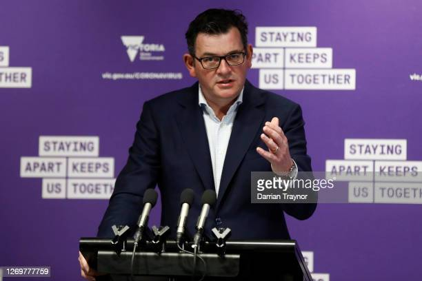 Victoria Premier Daniel Andrews speaks to the media at the daily briefing on August 31, 2020 in Melbourne, Australia. Victoria has recorded 73 new...