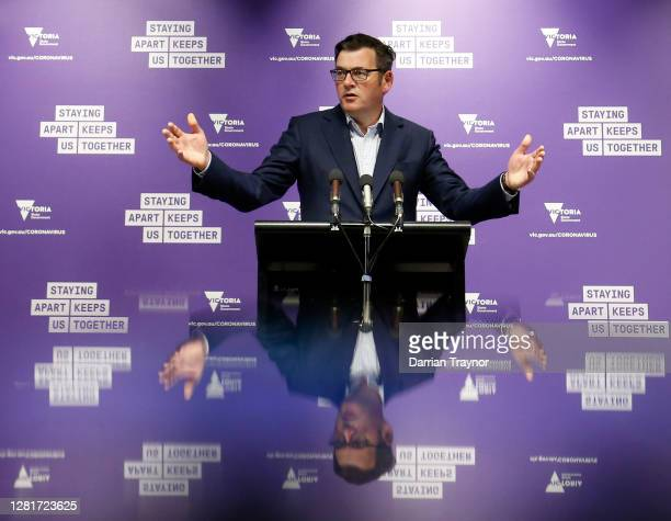 Victoria Premier Daniel Andrews speaks to the media at the daily briefing on October 23 2020 in Melbourne Australia Victoria has recorded one new...