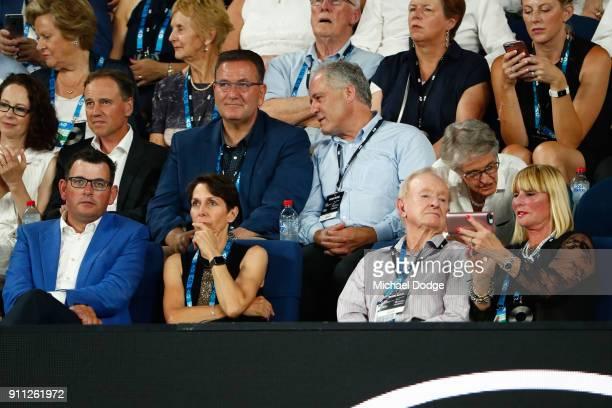 Victoria Premier Daniel Andrews Tennis Australia chair Jayne Hrdlicka and tennis legend Rod Laver watch the men's singles final between Roger Federer...