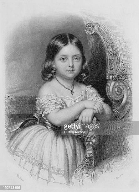Victoria Princess Royal later to reign as Queen Victoria circa 1924 She is holding a miniature of her future husband Prince Albert set into a...
