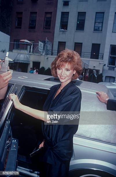 Victoria Principal getting into a limousine circa 1970 New York