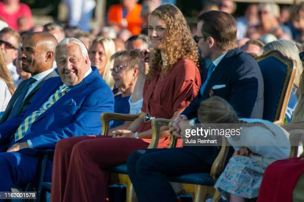 Victoria Prize winner Hanna Oberg the 2019 World Champion in Biathlon exchanges looks with Princess Estelle as they attend The Crown Princess...