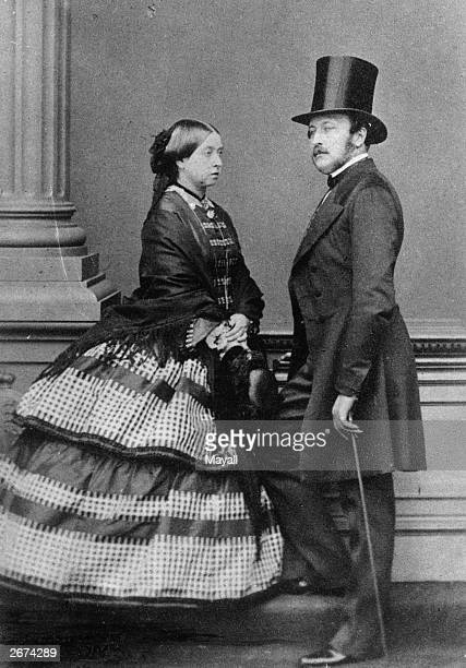 Victoria, Queen of England with her beloved husband Prince Albert of Saxe-Coburg-Gotha .