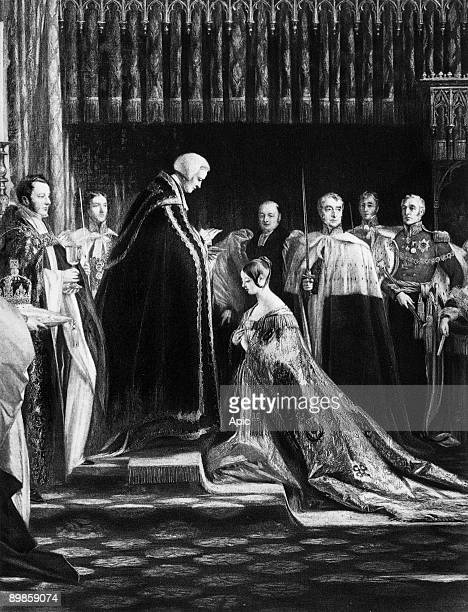 Victoria queen of GreatBritain and Ireland and empress of Indies here during her coronation on june 28 engraving after CR Leslie
