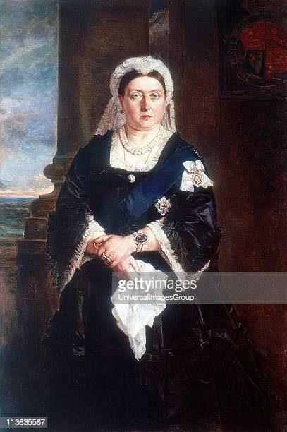 Victoria Queen of United Kingdom of Great Britain and Ireland from 1837 and Empress of India from 1875. Three-quarter length portrait of queen...