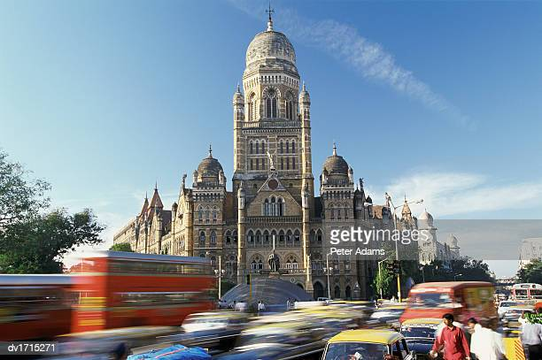 Victoria Railway Station and Busy Traffic, Bombay, India